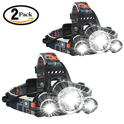 2 Pack Brightest and Best High Powered Lumen Bright Headlight Headlamp Flashlight Torch 3 XM-L2 T6 LED with Rechargeable Batteries and Wall Charger for Hiking Camping Riding Fishing Hunting