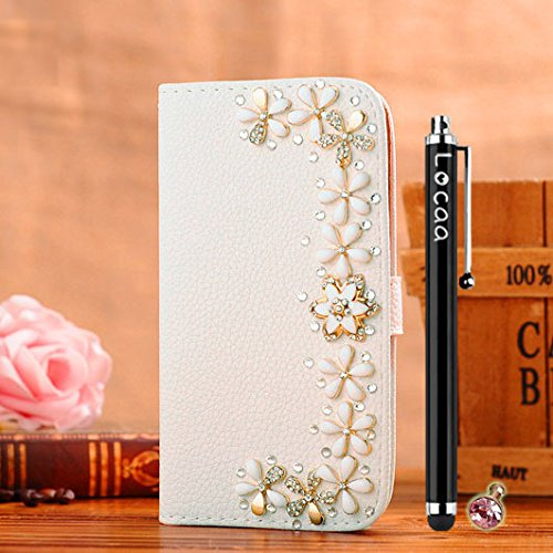 Locaa(TM) For Samsung Galaxy Mega 2 Mega2 3D Bling Case + Touch stylus + Anti-dust ear plug Deluxe Luxury Crystal Pearl Diamond Rhinestone eye-catching Beautiful Leather Retro Support bumper Cover Card Holder Wallet Cases -[General series] flowers door