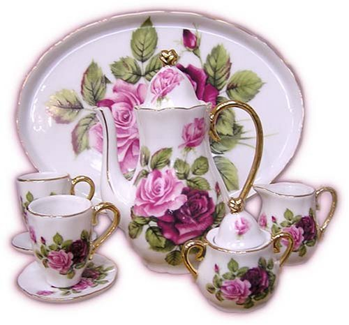 (Pink Roses Miniature China Tea Set )