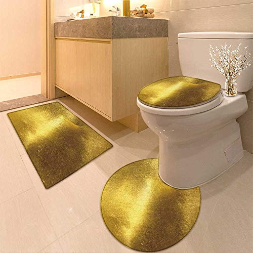 Gold Foil Texture - HuaWuhome 3 Piece Bathroom Rug Set Shiny Yellow Leaf Gold foil Texture Customized