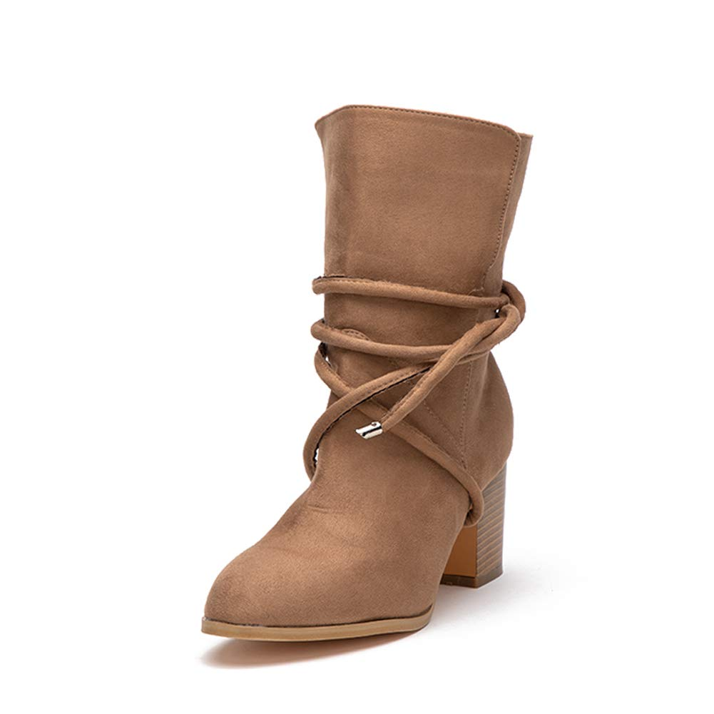 Women Brown Suede Lace up Boots with Block Heels Comfy Vegan Slip on Ankle Booties Shoes by LALA IKAI