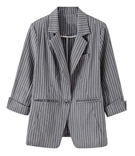 Domple Womens Autumn Outwear Stripe Lapel Slim One-Button Blazer Coat Aspic US S by Domple (Image #4)'