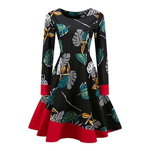 Vintage 1950 vestidos Otoño Vestido de manga larga mujer una línea Patchwork Retro Swing Rockabilly femenino vestido de fiesta vestido vestidos TQ000063