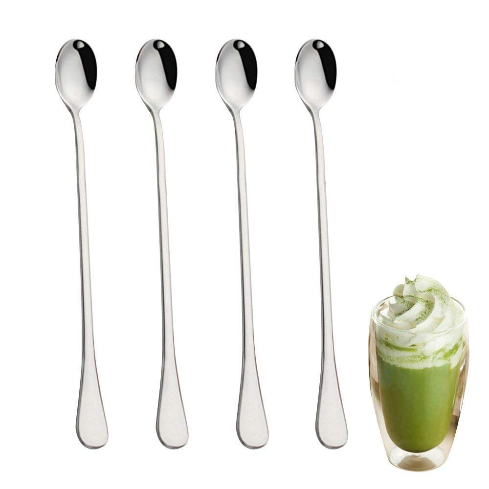 WEISIPU 9-Inch Long Handle Iced Tea Spoon, Coffee Spoon, Ice Cream Spoon, Stainless Steel Cocktail Stirring Spoons, Set of 4