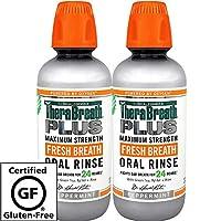 TheraBreath PLUS Enjuague bucal - Dentista recomendado - Enjuague bucal de máxima potencia - Detiene el aliento matutino - Kosher certificado - Aprobado para diabéticos - 16 onzas - Paquete de dos