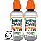 TheraBreath PLUS Oral Rinse – Dentist Recommended – Maximum-Strength Oral Rinse – Stops Morning Breath – Certified Kosher – Approved for Diabetics – 16 Ounces – Two-Pack