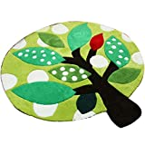 HOMEE Thickened handmade acrylic green pattern round carpet computer swivel carpet children bedroom bedside blanket living room coffee table carpet (optional size),140Cm