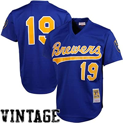 757255e7d MLB Mitchell   Ness Robin Yount Milwaukee Brewers 1991 Authentic Throwback  Mesh Batting Practice Jersey -