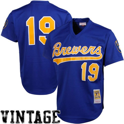 MLB Mitchell & Ness Robin Yount Milwaukee Brewers 1991 Authentic Throwback Mesh Batting Practice Jersey – Royal Blue – DiZiSports Store