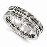 Edward Mirell Brushed and Polished Titanium Textured Domed 7mm Wedding Band - Size 13