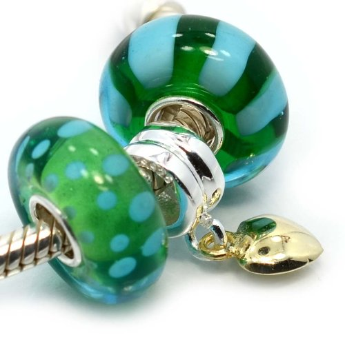 Pro Jewelry (Set of 3) .925 Sterling Silver / Gold Tone Heart / Glass (Ocean Green) Charm Bead for Snake Chain Charm Bracelets (Beads Pugster Green Murano)