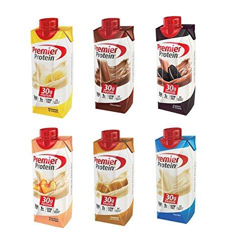 Premier Protein High-Protein Shake, Bananas & Cream, Caramel, Vanilla, Cookies & Cream, Chocolate, Peaches & Cream (11 fl. oz., 6 pk.)
