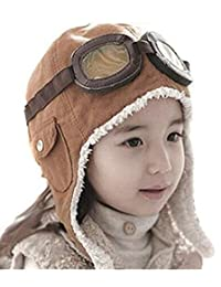 Xugq66 Children Winter Earflap Pilot Cap Lovely Kid Aviator Hat Beanie Flight Helmet