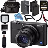 Sony Cyber-Shot DSC-RX100 V DSCRX100 Mark 5 Digital Camera + Rechargable Li-Ion Battery + Charger + Sony 128GB SDXC Card + Case + Tripod + HDMI Cable + Memory Card Wallet + Fibercloth Bundle