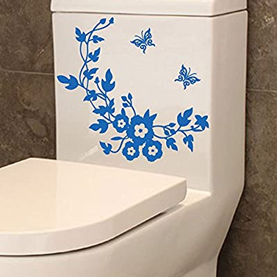 AMOFINY Home Decor Flower Toilet Seat Wall Sticker Bathroom Decorationation Decals Decoration Butterfly Mural