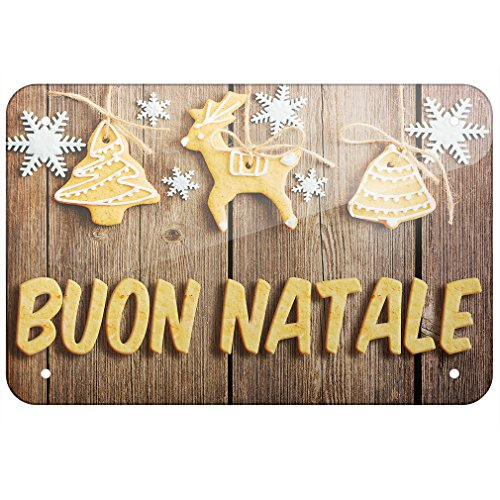 """Metal Sign Merry Christmas in Italian from Italy, Vatican City, San Marino, Large 12x18"""" - Neonblond"""