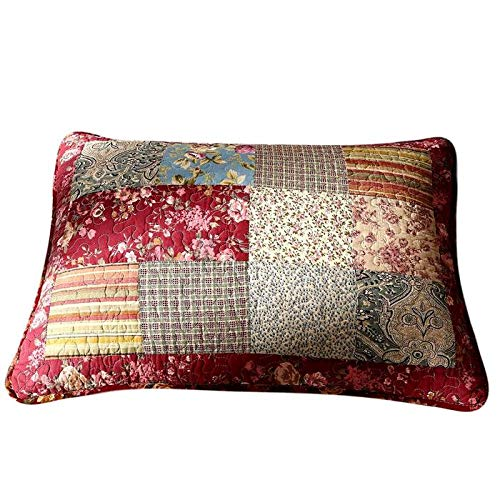 Tache 1 Piece Floral Patchwork Red Fairytale Tea Party Cotton Decorative Accent King Size Quilted Case Pillow Sham Cover, 20x36