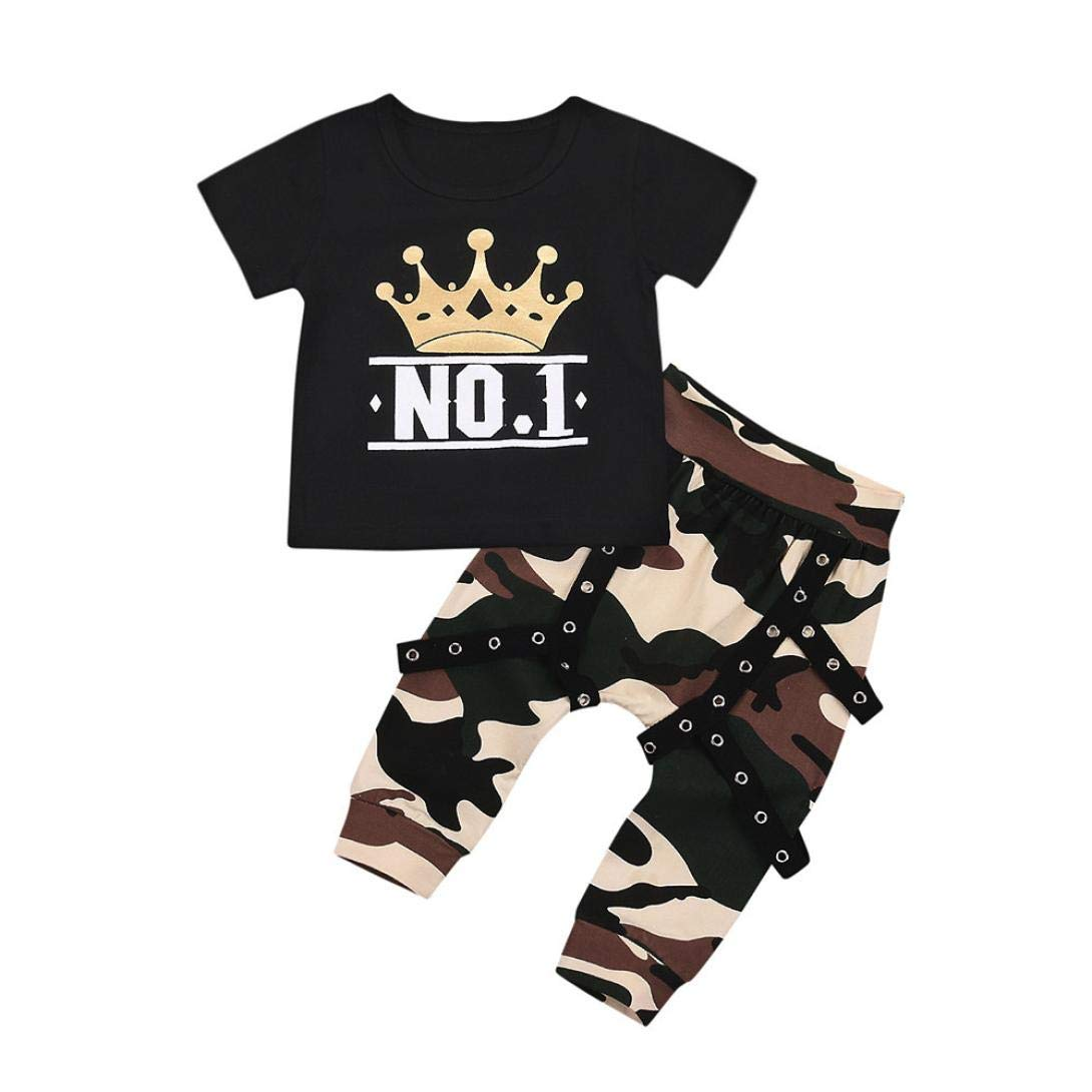 Clearance 1-4Years Toddler Kids Baby Boy Letter Short Sleeve NO 1 T shirt Tops+Camouflage Shorts Outfits Clothes Set (Black, 18-24 Months)