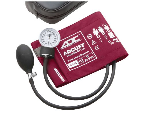 ADC Prosphyg 760 Pocket Aneroid Sphygmomanometer with Adcuff Nylon Blood Pressure Cuff, Adult, Magenta