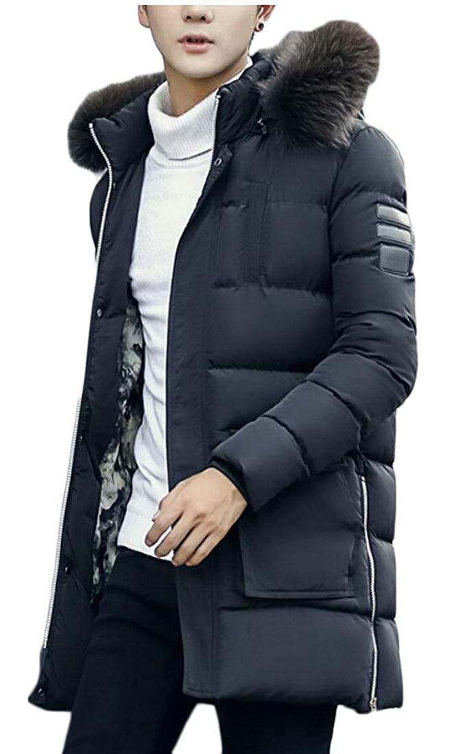 Yayu Mens Thicken Hooded Fur Collar Mid Long Pea Coat Jacket
