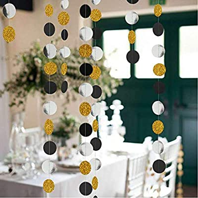 "50 Feet Gold-Silver Paper Glitter Garland Circle Dots Decoration 8.34 Long*6 /"""