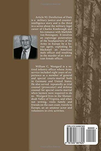 Article 92 Dereliction Of Duty William C Westgard 9781500687625 Amazon Books