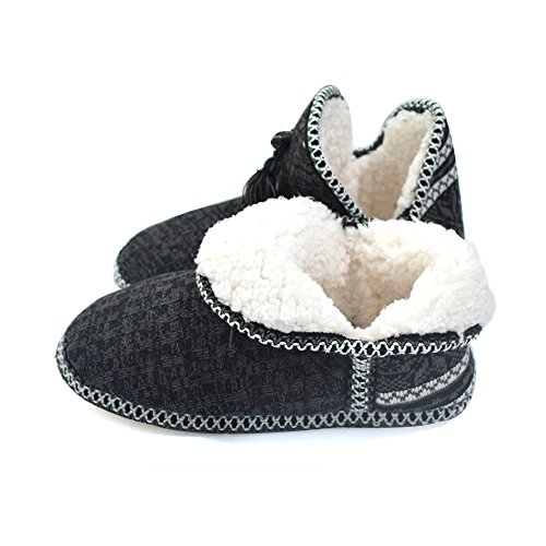 Q-Plus Cashmere Velvet Knit Warm Womens House Slipper Boots Pearly Foam Insole Black vF2QAj