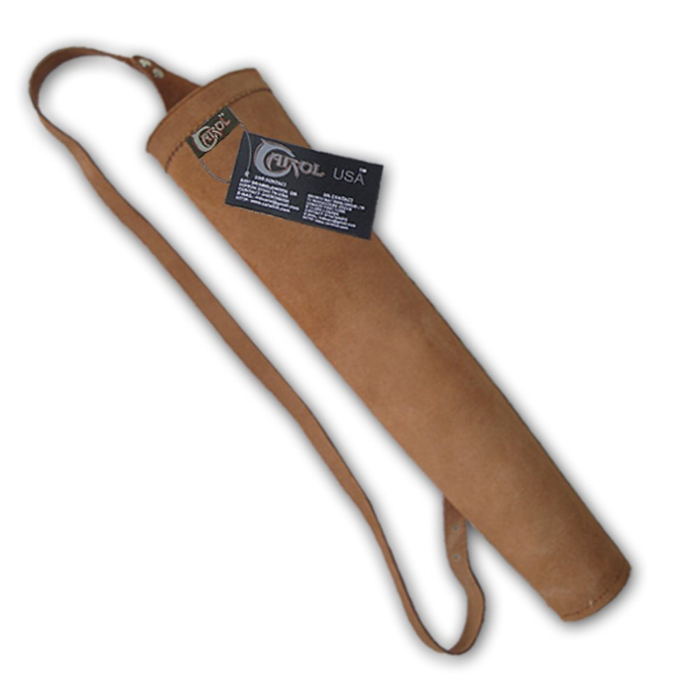 Carol 17'' LONG TRADITIONAL YOUTH BACK SUEDE LEATHER ARROW QUIVER BFAQ8316A BROWN