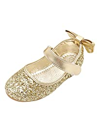 fereshte Little Girl's Mary Jane Buckle Strap Paillette Ballerina Flats Cute Sequin Ballet Dress Shoes (Toddler/Little Girl)