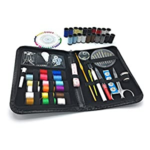 WONDERLING Sewing Kit 120 Premium Sewing Supplies Colors Thread Needles Scissor Thimble Tape Measure Pins Accessories Compact Carrying Case Camper Traveller Emergency Tailor Home Office Art School