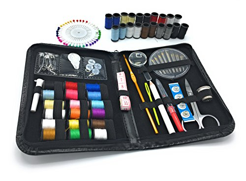 WONDERLING Sewing Kit 120 Premium Sewing Supplies Colors Thread Needles Scissor Thimble Tape Measure Pins Accessories Compact Carrying Case Camper Traveller Emergency Tailor Home Office Art (2 Old Germany Stein)