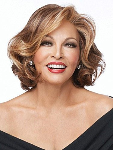 Cheap Crowd Pleaser Wig Color RL5/27 GINGER BROWN – Raquel Welch Wigs Heat Friendly Mid Length Waves Swept Bangs Women's Synthetic Sheer Indulgence Lace Front Monofilament Part