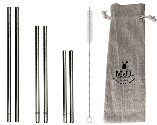 Combo Pack Safer Rounded End Stainless Steel Metal Straws for Mason Jars (6 Pack + Cleaning Brush + Bag) (Rounded Metal)