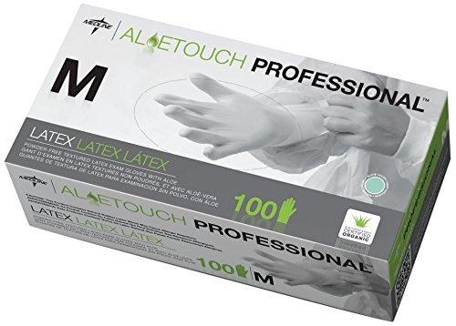 Medline MDS198155 Aloetouch Powder-Free Latex Exam Gloves, 9'' Length, Medium, Green (Case of 1000) by Medline