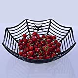 Hot Sale!DEESEE(TM)Spider Web Fruits Candy Plastic Basket Spiderweb Halloween Party Decor Kitchen (Black)