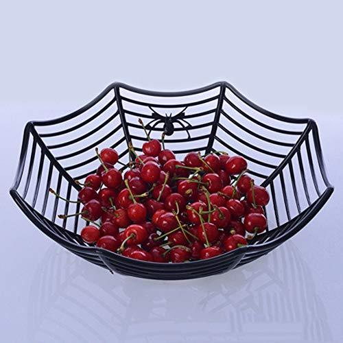 Hot Sale!DEESEE(TM)Spider Web Fruits Candy Plastic Basket Spiderweb Halloween Party Decor Kitchen (Black) for $<!--$3.68-->