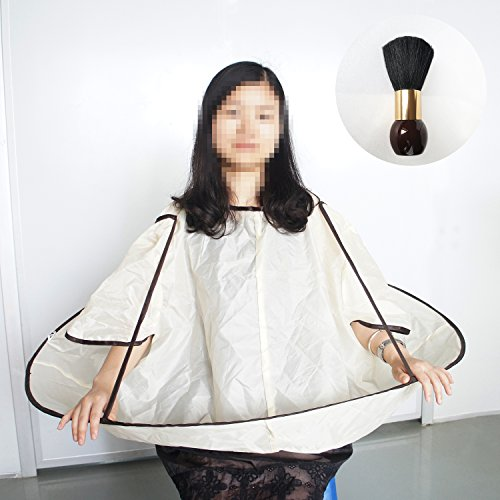 Beautyours Haircutting Cape Large Neck Duster Brush 2PCS Set Home Haircut Kit Hair Cut Cutting Umbrella Cloak Catcher Apron Salon Barber Hairdressing For Family Hairstylist Design Gown Barbers
