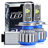 MYLMSM H4 LED Headlight Conversion Kit 6000k Cool White Cree 7200LM HB2 9003 Fog Lights High Beam/Low Beam Auto Headlight Bulb with Canbus Decoders(1 Pair)-2 Year Warranty(T1 Series)