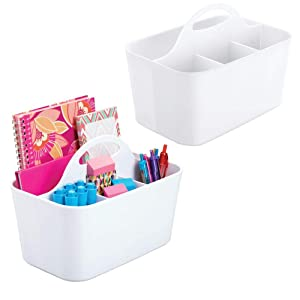 mDesign Small Office Storage Organizer Utility Tote Caddy Holder with Handle for Cabinets, Desks, Workspaces - Holds Desktop Office Supplies, Gel Pens, Pencils, Markers, Staplers - 2 Pack - White