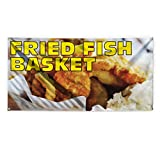fish printing - Fried Fish Basket Outdoor Advertising Printing Vinyl Banner Sign With Grommets - 2ftx3ft, 4 Grommets