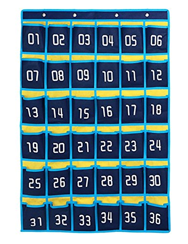 Classroom Computer (Jedulin 36 Pockets Numbered Classroom Teacher Calendar Scheduling Storage Pocket Chart Wall Door Hanging Organizer for Cell Phones Business Cards)
