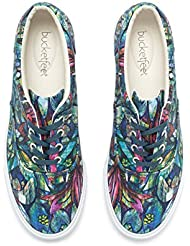 BucketFeet Womens Botanical Gardens Canvas Lace-Up Teal 9