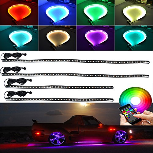 Million Color 4pc 5050 LED App bluetooth controlle Undercar Neon Strip Underglow Underbody Under Car Body Glow Light Kit