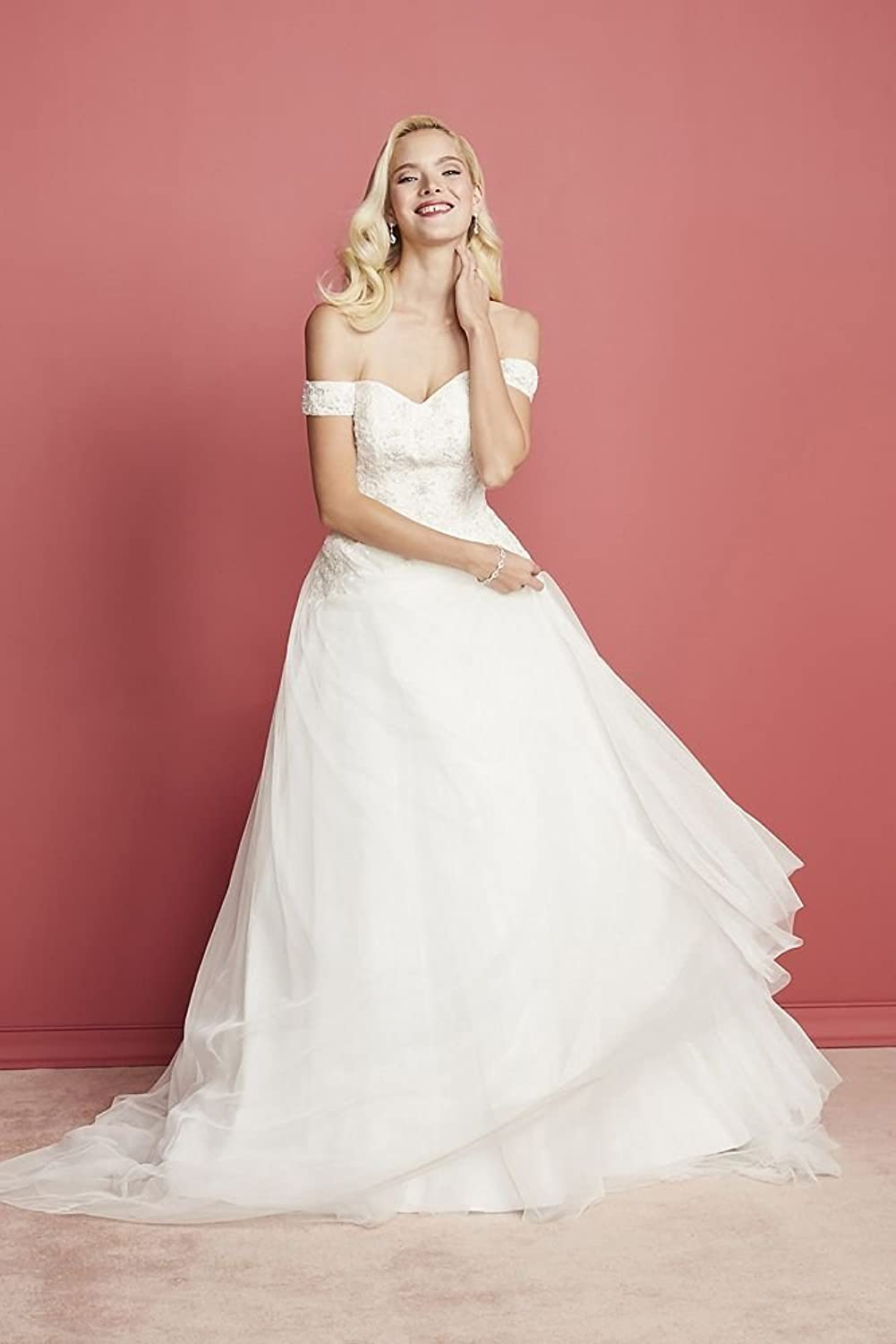 Oleg Cassini Off The Shoulder Tulle Wedding Dress Style CWG729 at ...