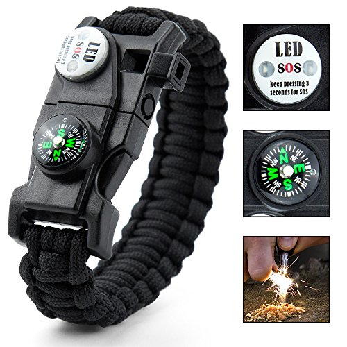 Easymoo Paracord Bracelet,Survival Bracelet,Outdoors Survival with Compass Fire