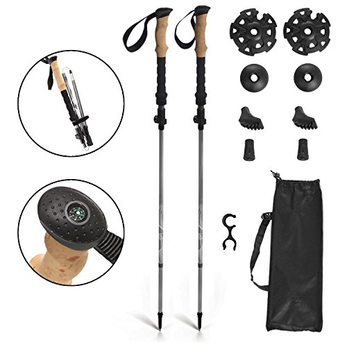 KESHES Trekking poles Compass Hiking trail sticks -collapsible, folding, lightweight aluminum 7075 walking stick, eva cork grip- Quick flip lock & tungsen tips, all terrain, carry bag included 2 pack by KESHES