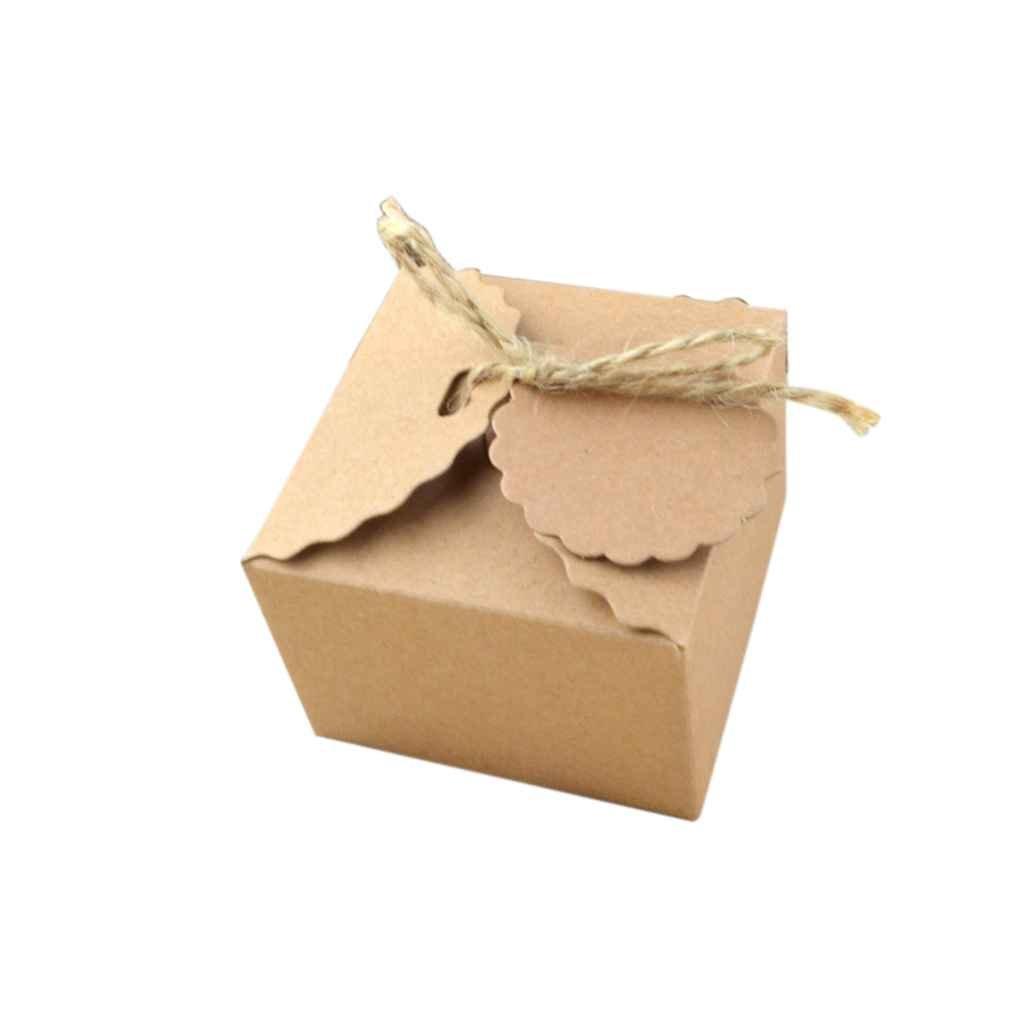 Lorjoy 50pcs Lot Papel Kraft Caja del Caramelo de la Tarjeta con Cinta para Colgar Fiesta de cumplea/ños de Boda Creativo Cuadrado de Bricolaje Caja del Caramelo