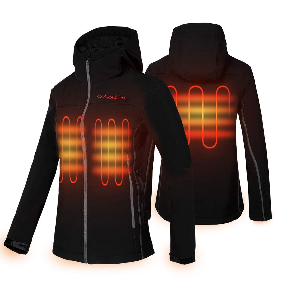 CONQUECO Women's Heated Jacket Slim Fit Electric Hoodie Jacket in Winter