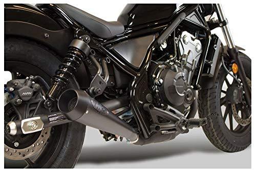 (M4 Performance Exhaust ALL BLACK RETRO-DRAG SLIP-ON HO1012 compatible with Honda 2017-19 Rebel CMX300 CMX500)