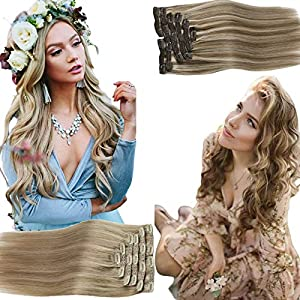 Sunny Blonde Highlight Hair Extensions Clip in 14inch Human Hair Clip Extensions Brown with Blonde Highlights Clip Hair…